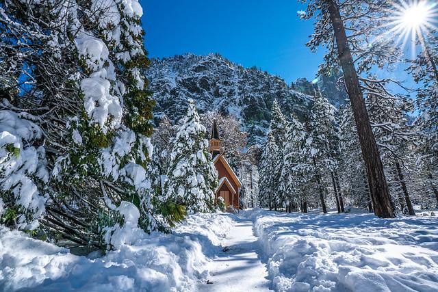 Yosemite Church Blue Sky Snow Fine Art Winter Photography! Sony A7R III & FE 16–35 mm G Master Wide-Angle Zoom Lens SEL1635GM Winter Snow Fine Art!  Yosemite National Park Winter Snow California Landscape Photography! High Res 4k 8K! Elliot McGucken Art