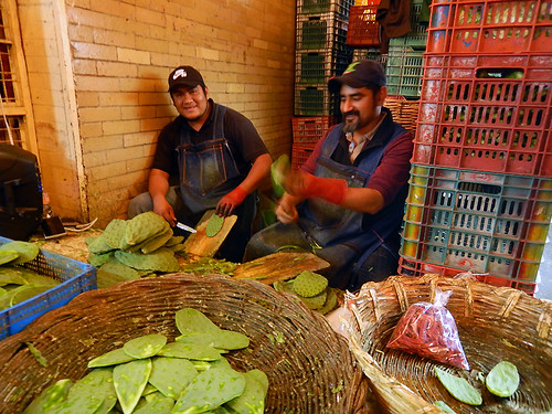 Nopales (defanged cactus paddles) for sale at the huge Merced Market in Mexico City