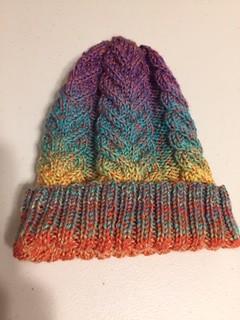 Pretty cabled hat knit by Lynn!