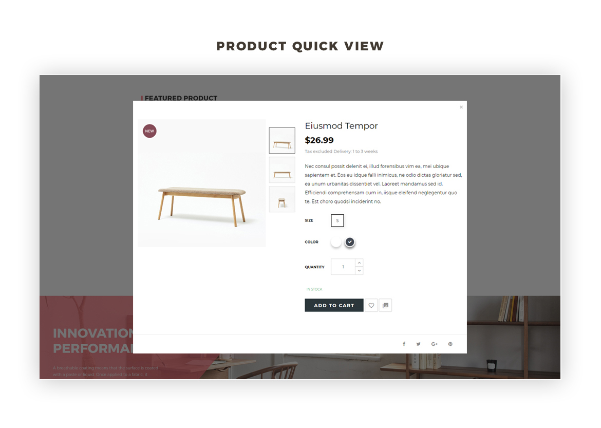 product quick view - Bos Voyage - Furniture and Home Decor prestashop theme