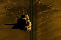 A sonar image from R/V Petrel shows the wreck of USS Hornet (CV 8) resting on the ocean bottom in the South Pacific, nearly 17,500 feet below the surface. (Photo courtesy of Paul G Allen's Vulcan Inc.)