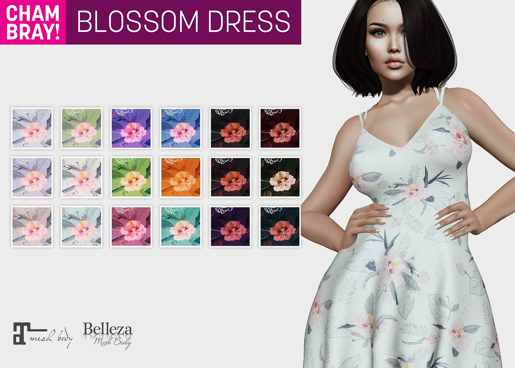 !Chambray Blossom Dress @ Collabor88