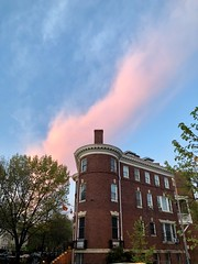 Pink cloud at sunset over Embassy of Grenada, R Street NW, Washington, D.C.