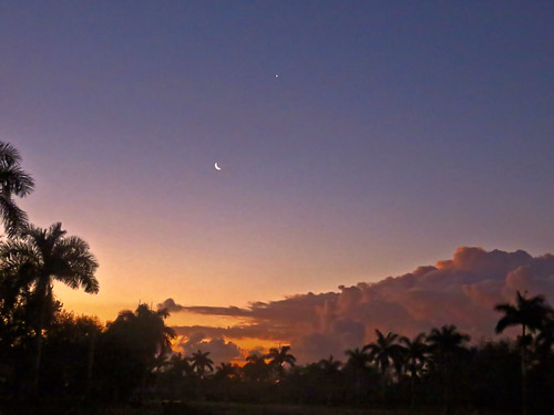Moon and Jupiter over stormy sunrise 2-20190303