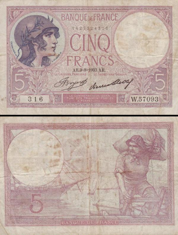 5 francúzskych frankov Francúzsko 1932-33, P72