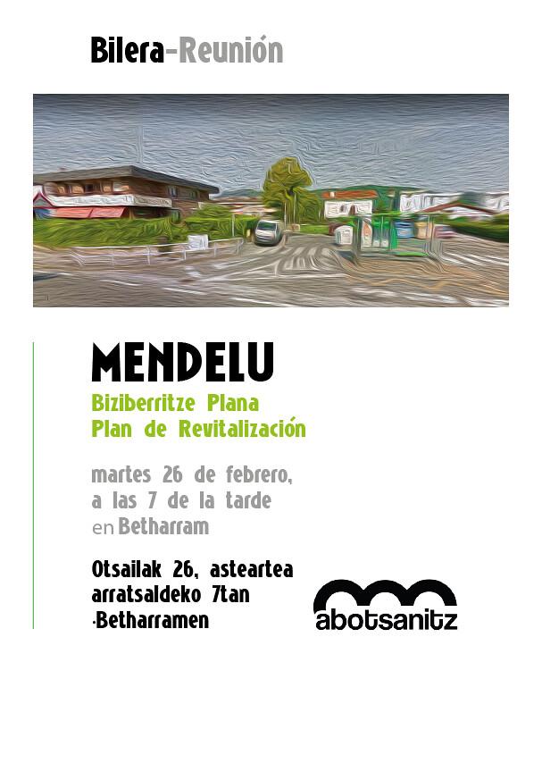 Cartel reunión en Mendelu, Hondarribia