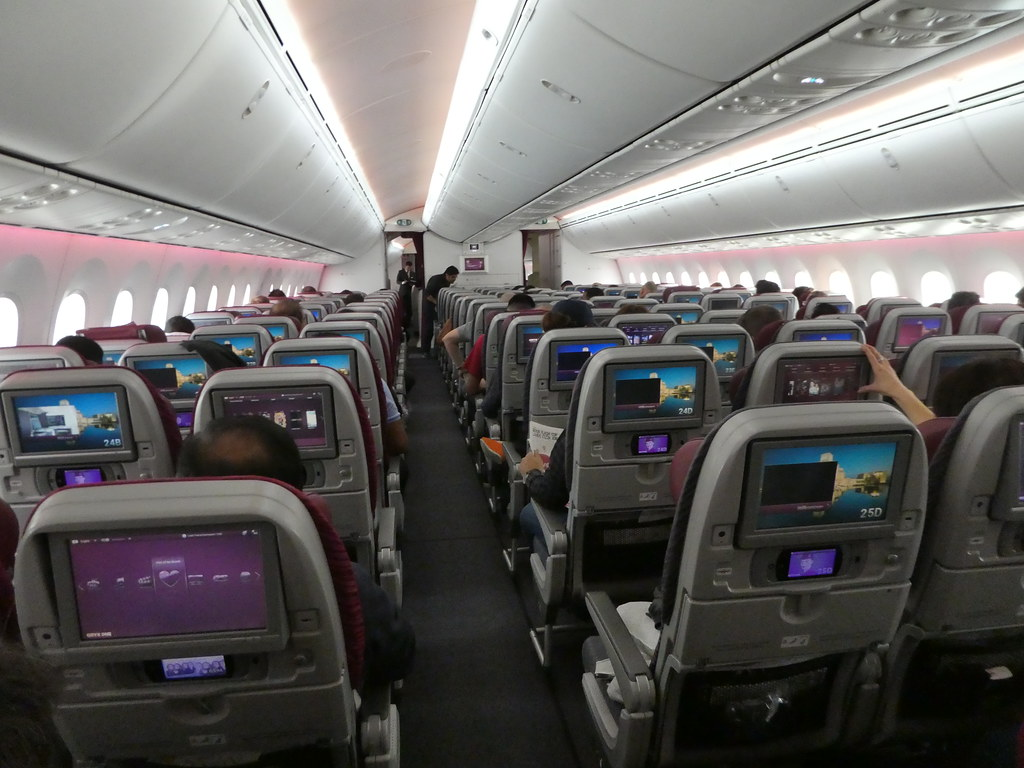 View of the front cabin of the Qatar Airways 787-8 Dreamliner aircraft