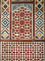 Geometric Islamic pattern on a wall at Akbar's Mausoleum in Agra, India