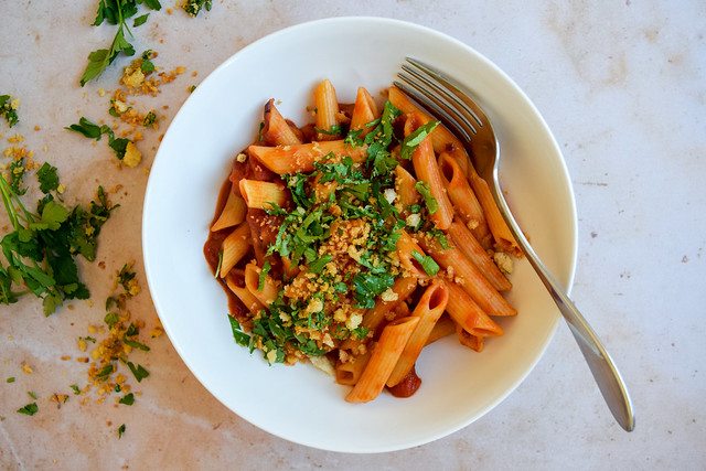 Bloody Mary Penne with Crunchy Parsley Breadcrumbs