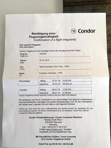 91 - Bestätigung Flugunregelmäßigkeit Condor