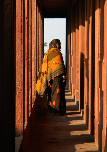 Pillars lining a walkway in the mosque in Fatehpur Sikri, a town outside of Agra in India