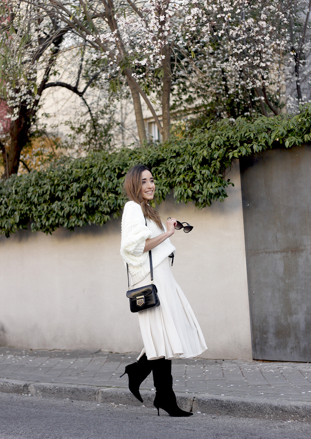 pink pale midi skirt white sweater black boots givenchy bag street style outfit 20195
