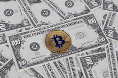 Golden Bitcoin on a paper dollars money
