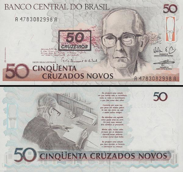 50 cruzeiros Brazília 1992, P223a pretlač