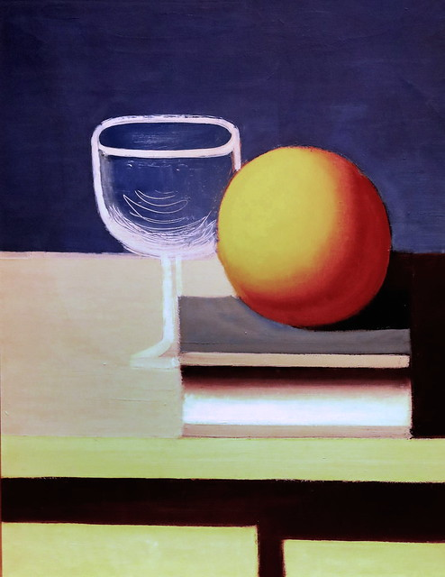 Photo:IMG_1402A Vilhelm Lundstrøm 1893-1950 Denmark Nature morte avec verre à vin, livre et orange 1931 Still life with wine glass, book and orange 1931 Aarhus Kunstmuseum Denmark By jean louis mazieres