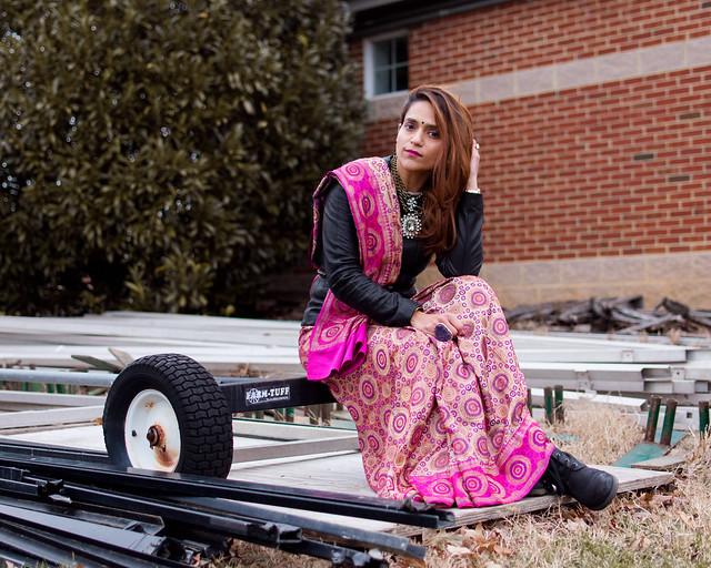 Saree, Leather Jacket, Boots, Tanvii.com