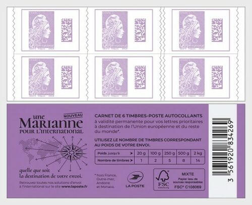 France - Marianne Definitive International Rate (January 1, 2019) bookklet
