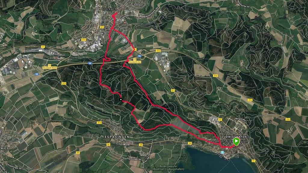 Bodensee: Ludwigshafen - Stockach (Rundwanderung im Oktober 2018, Screenshot Garmin)