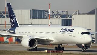 Lufthansa, F-WZGW, Reg. D-AIXN, MSN 292, Airbus A 350-941, 25.02.2019,  XFW-EDHI, Hamburg Finkenwerder (Named: Göttingen)
