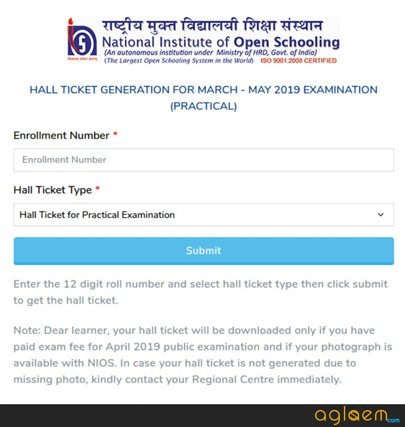 NIOS 12th Practical Hall Ticket 2019