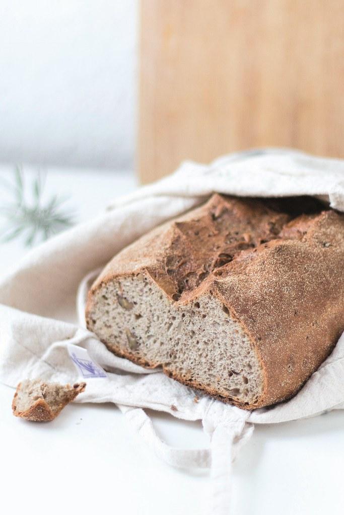乾淨的棉布袋拿來裝麵包。
