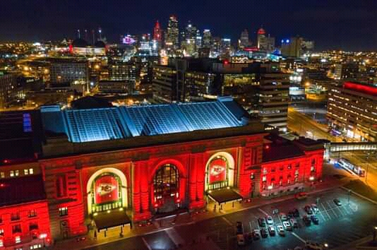 View of downtown Kansas City, Missouri, with Union Station in the foreground, lit to honor the Kansas City Chiefs on Red Friday, January 11, 2019.