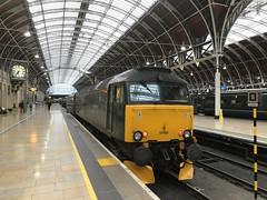 Class 57 locomotive with the Night Riviera sleeper at London Paddington