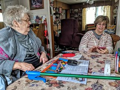 Celebrating my awesome Mom's 88th Birthday. With my awesome sister Tammy, at the house Mom moved into on Feb. 18th, 1961. 13Feb2109