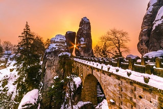 Winter morning at the Bastei, Saxony