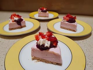 Daiya Strawberry Cheesecake with Berry Rhubarb Jam, Rice Whip, and strawberries