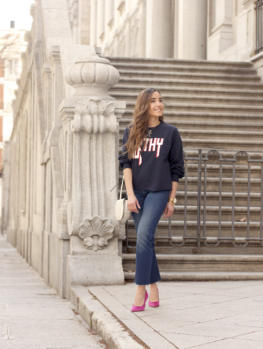 sweatshirt pink heels jeans find amazon fashion street style outfit 20193