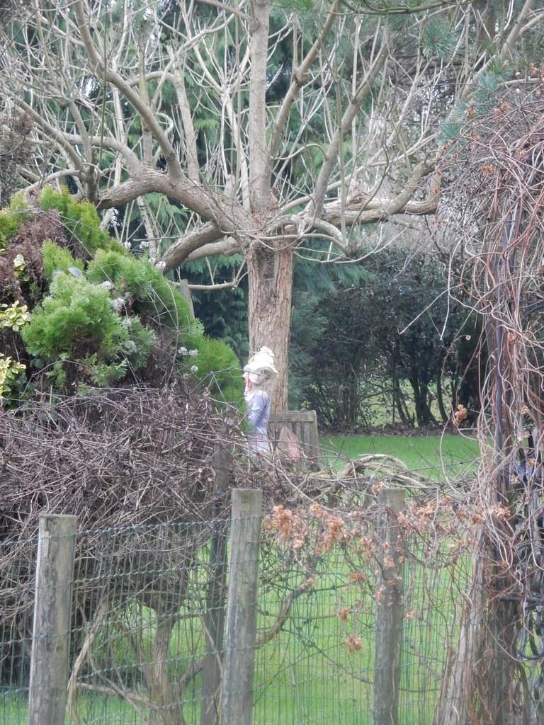 Lady dummy in garden Little Kimble to Saunderton