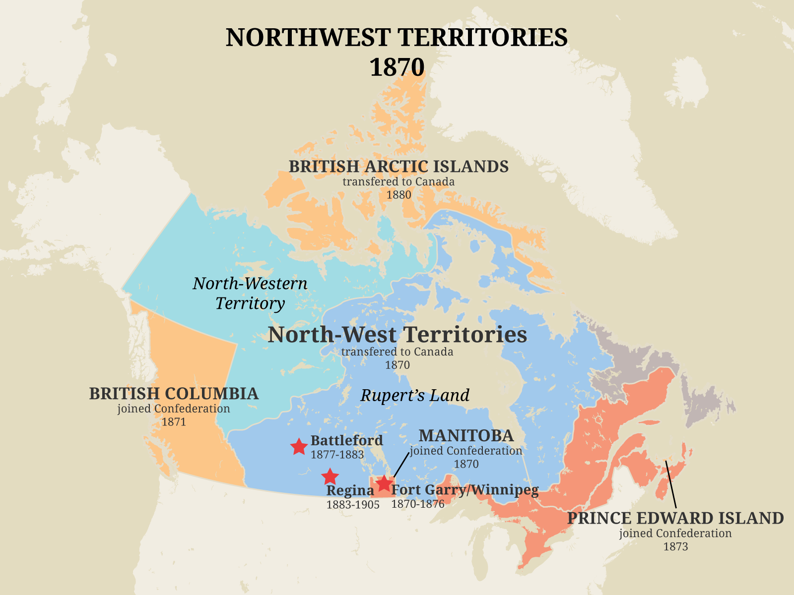 Map showing the western expansion of the Dominion of Canada in 1870