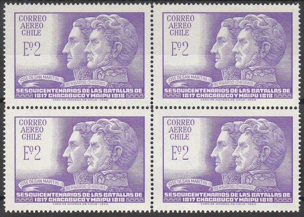 Chile - Scott #C280 (1969) block of 4