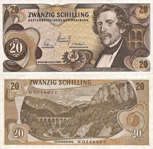 20 Schilling Rakúsko 1966, P142a