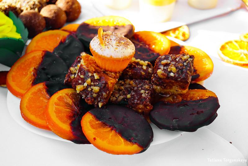 Апельсины в шоколаде и выпечка