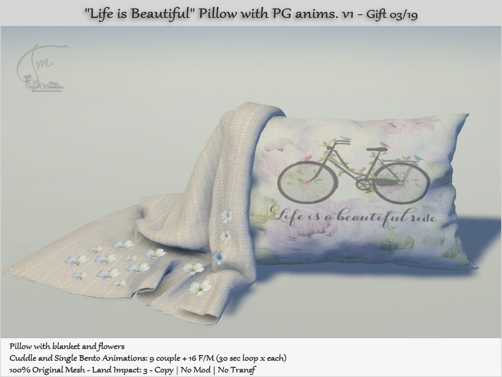 ".:Tm:.Creation Gift ""Life is Beautiful"" Pillow with anims. - TeleportHub.com Live!"