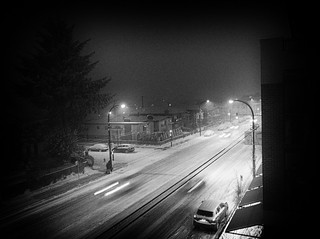snow-stormy night, B&W | by annapolis_rose