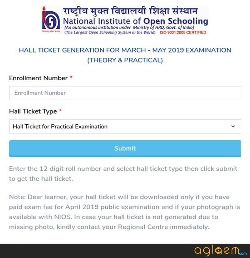 NIOS 10th Theory Hall Ticket 2019