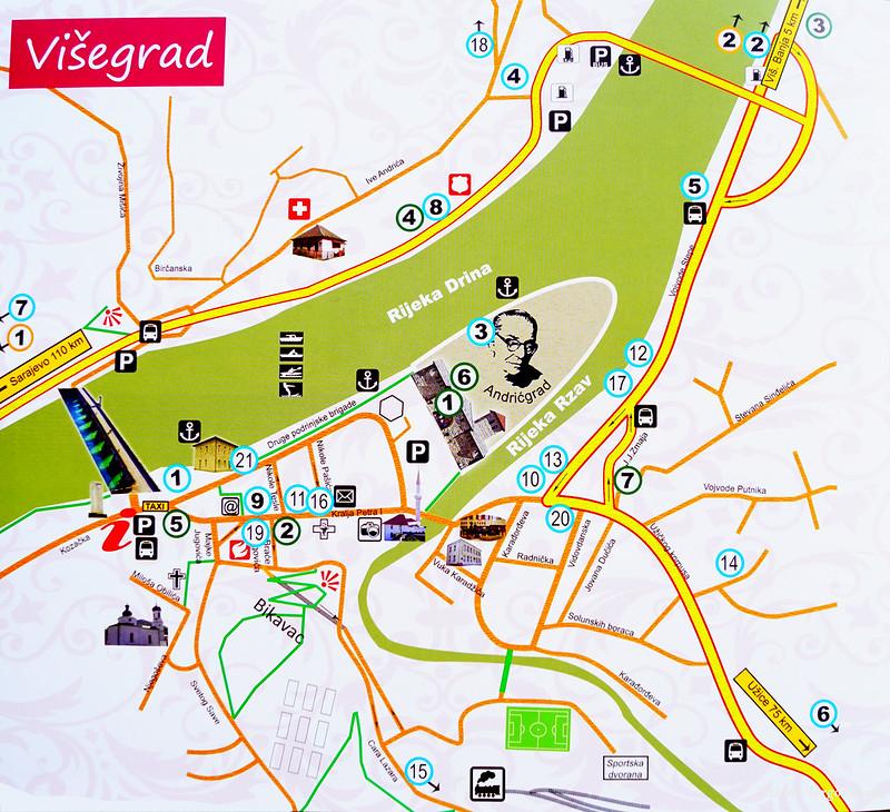 Карта Вишеграда с достопримечательностями, отелями и ресторанами