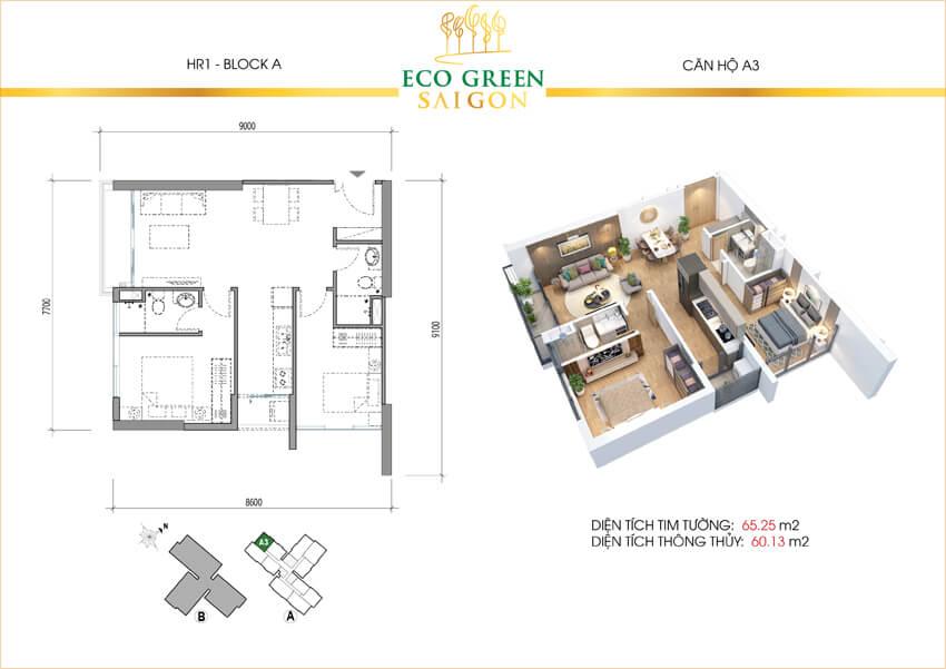 Căn hộ loại A3 dự án Eco-Green Sài Gòn quận 7.