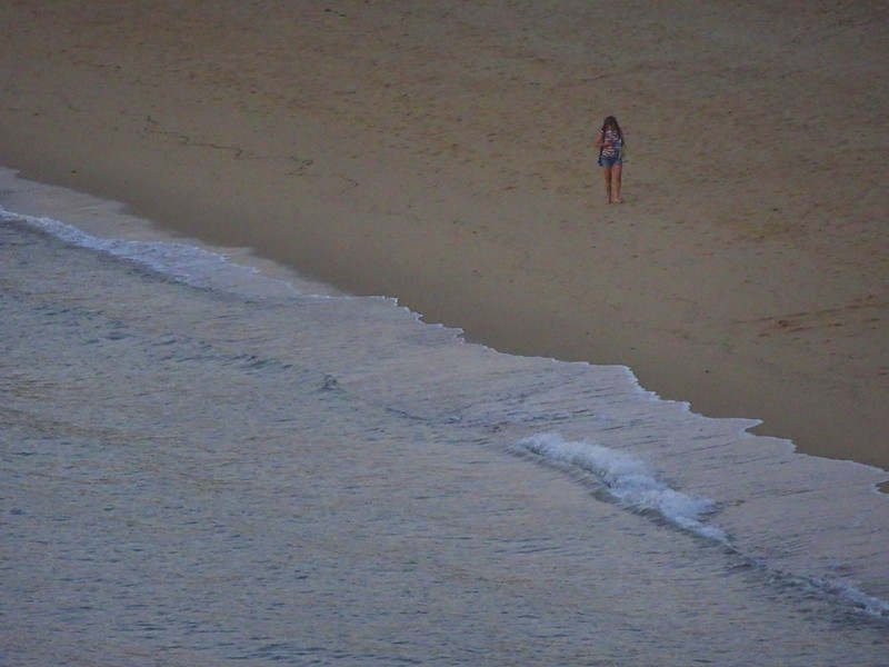 Lonely girl on the beach