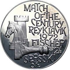 1972 Fischer-Spasski Reykjavik Chess Match Medal obverse