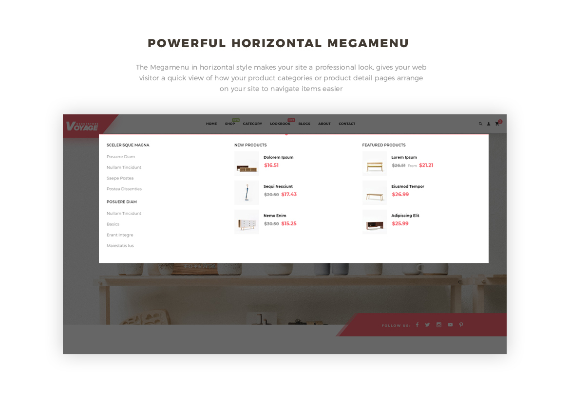 horizontal mega menu- Bos Voyage - Furniture and Home Decor Prestashop theme