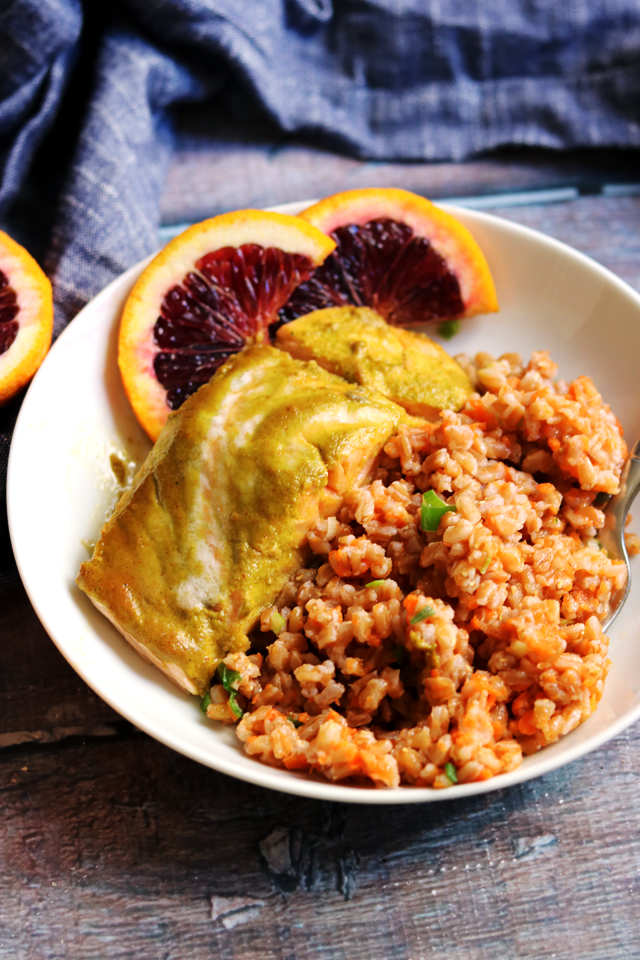 Roasted Salmon with Blood Orange, Smoked Paprika, Ginger and Carrot Farro Pilaf
