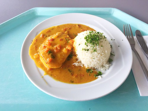 Chicken breast in tikka masala sauce with basmati rice / Hähnchenbrust in Tikka Masalasauce und Basmatireis