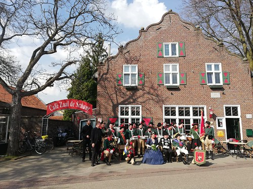 Posing in front of the village pub