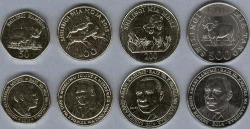 Tanzánia 50-100-200-500 Shillings 2014-2015