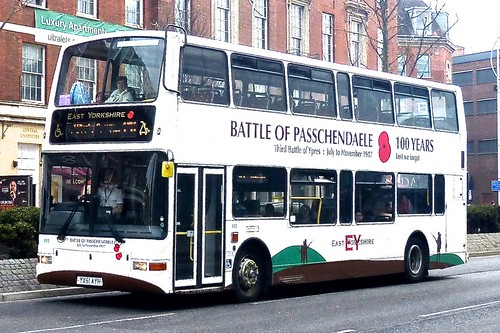 YX51 EYH 'East Yorkshire Motor Services' No. 592 'Battle of Passchendaele 100 Years'. Volvo B7TL / Plaxton President on Dennis Basford's railsroadsrunways.blogspot.co.uk'