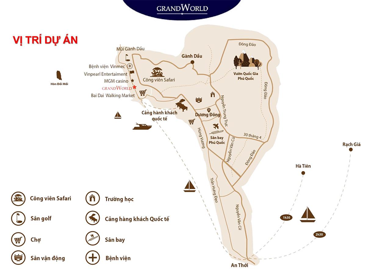 Vị trí của dự án Grand World Phú Quốc
